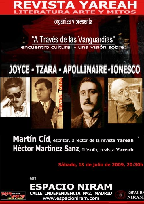 Joyce, Tzara, Apollinaire, Ionescu en Espacio Niram