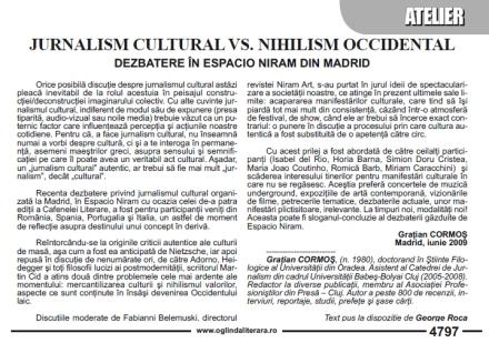 Jurnalismul cultural - dezbatere în Espacio Niram de Graţian Cormos