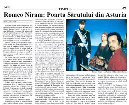 Timpul: Romeo Niram si Poarta sarutului din Asturia de Dan Caragea