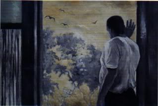 Andrei la fereastră, 2000  ulei pe pânză 67x106 cm