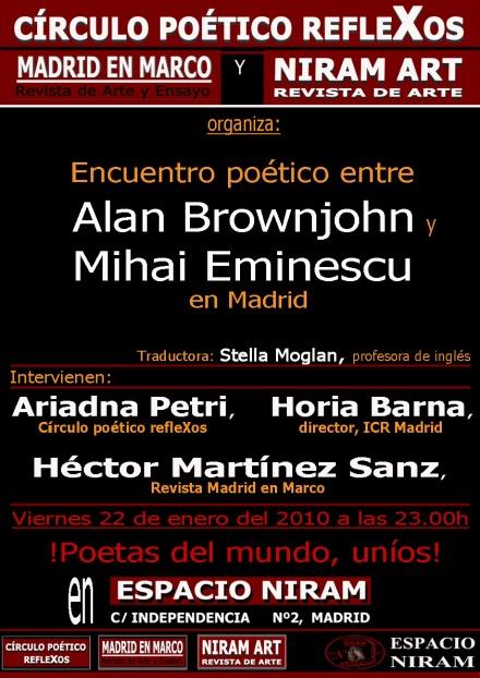 Poetul Alan Brownjohn si Mihai Eminescu - Intalnire in Espacio Niram, Madrid