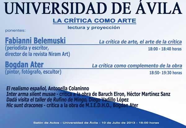 Coloquio La crítica como arte, Universidad de Ávila